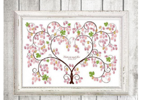 Fingerprint Canvas Wedding Fingerprint Tree, Signature Tree, DIY Wedding Party Sign (W007)