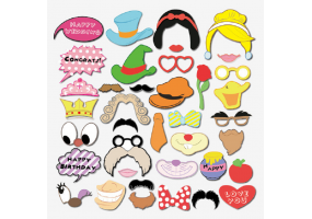 Party / Birthday / Wedding Photo Props - Cartoon Style Photo Booth Props 38 Piece Set   (W017)