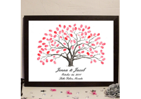 Fingerprint Canvas Wedding Fingerprint Tree, Signature Tree, DIY Wedding & Party Sign (W009)
