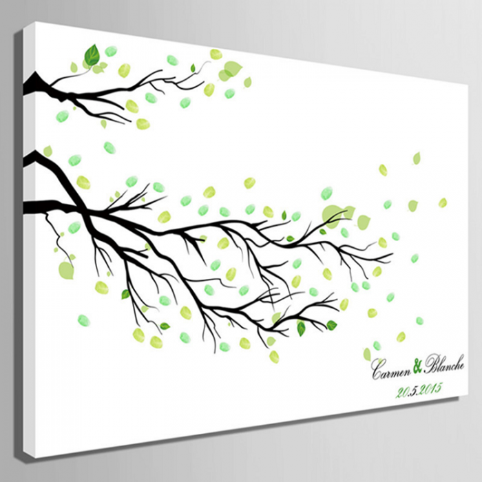 Fingerprint Canvas Wedding Fingerprint Tree Branch, Signature Tree ...