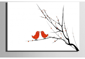 Fingerprint Canvas Wedding Fingerprint Loving Bird, Signature Tree Branch Loving Bird, DIY Wedding & Party Sign (W011)