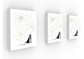 Fingerprint Canvas Wedding Fingerprint Fireworks , DIY Wedding Party & Sign (W012)