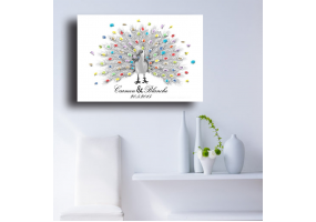 Fingerprint Canvas Wedding Fingerprint Picture,  DIY Wedding & Party Sign (W014)