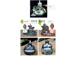 Backflow Incense Burner - Little Monk, Water Fall (C001-C005)