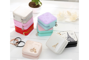 Korean Version Portable Traveling  Ring & Earrings Small Jewelry  Storage Box - (F012)