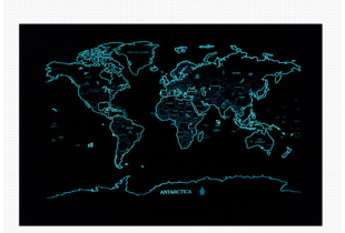 Scratch Travel World Map / Glow in the Dark Map of the World  (F016)