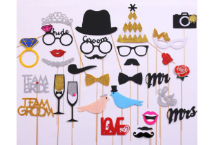 Party / Birthday / Wedding Photo Props Photo Booth Props 31 Piece Set -  (W022)