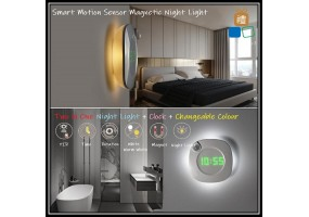 Smart Motion Sensor Wall clock with LED Lights , USB / AAA Battery Powered 2 colors Night Home clock , LEDs for bedroom Toilet Kitchen