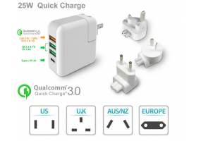 Quick Charge 3.0  4 Ports USB Type C  Travel Office Charger - (P011)