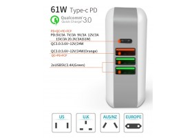 USB C Wall Charger 4-Port 61W Power Delivery Charger USB Type C PD Charger Compatible with MacBook iPhone Xs/XS Max/XR/X/8/7/6/Plus Pixel 3/2/Pixel XL Galaxy Note 8/ S8/ S9 Plus - (P011)