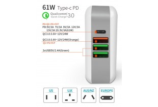 61W Quick Charge 3.0  4 Ports USB Type C Desktop Charging Station Wall Travel Office Charger - (P011)