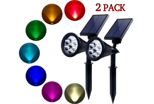 (2 Pack ) 7 LED Solar Waterproof Garden  Spotlight (Changing Color)