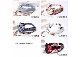 5 Pcs Set Elastic Headband Woman Girls Accessories Head Band Hairband (F022)