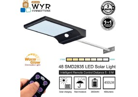 48 LED Wireless Waterproof Solar Motion Sensor Lights Outdoor with Remote Control  (Dimmable Light)