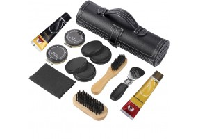 11 in 1 Travel Shoe Shine Kit Shoe Polish Kit with PU Leather Sleek Elegant Case Black