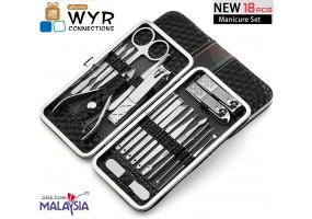 18 in 1 Manicure Pedicure Set Travel Nail Clippers Kit Stainless Steel Nail Cutter Care Set Beauty Cosmetic Tools With Travel Case
