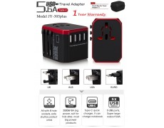 Universal Travel Plug Adapter- Worldwide Charging Adapter Plug - 5.6A 5 USB 3.0A Type-C Ports