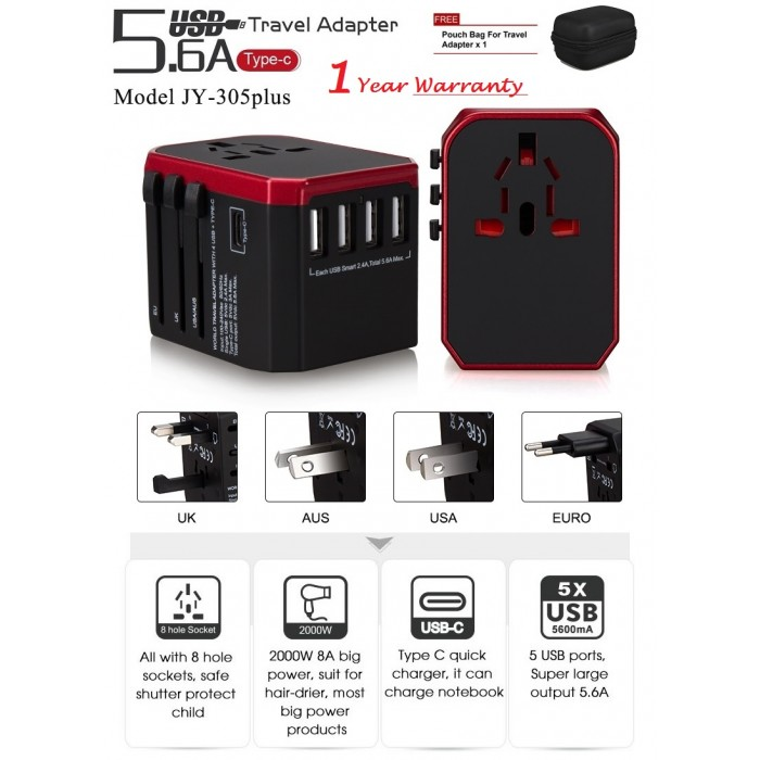 880W 8A Universal Travel Power Adapter w// Fast Charging 4 USB and Type C Ports