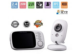 3.2 Inch Digital Baby Monitor, Wireless Video/Audio Baby Monitor 2.4GHz With Night Vision - Recharge