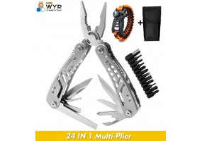 Multi Purpose Tool Set 24-in-1 Pocket Folding Stainless Steel Pliers For Safety Hiking Camping Tools