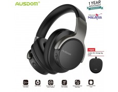 AUSDOM ANC8 Active Noise Cancelling Lightweight Headset Stereo Wired Wireless Bluetooth Over Ear Headphones  with microphone