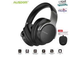 AUSDOM ANC8 Active Noise Cancelling Lightweight Headset Stereo Wired Wireless Bluetooth Over Ear Hea