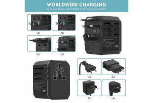 33W Universal Travel Plug Adapter- Worldwide Super Fast Quick Charge PD Adapter Plug - 5.6A 2 USB Q.
