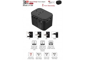 33W Universal Travel Plug Adapter- Worldwide Super Fast Quick Charge PD Adapter Plug - 5.6A 2 USB Q.C 3.0 Type C Ports