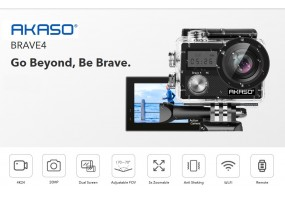 AKASO Brave 4 4K 20MP WiFi Action Camera Ultra HD with EIS 30m Underwater Waterproof Camera Remote C