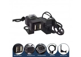Bike USB Charger For Motorcycle Mobile Phone Power Supply Charger Port Socket 12-24V (Black)