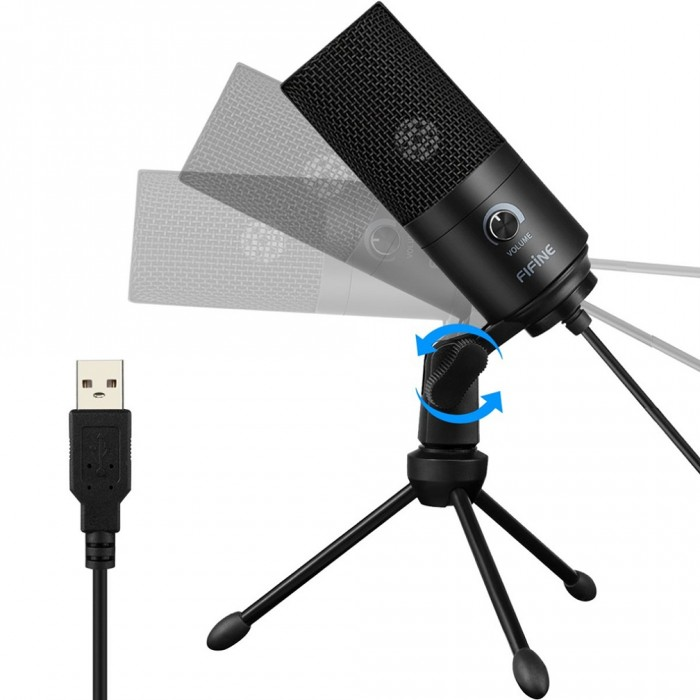 fifine metal condenser usb microphone recording microphone for laptop mac or windows cardioid. Black Bedroom Furniture Sets. Home Design Ideas
