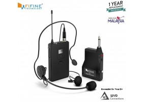 Fifine Wireless Microphone set with Headset /Lavalier Lapel Mics, Beltpack Transmitter/Receiver,Ideal for Teaching, Preaching and Public Speaking Applications.(K037B)