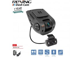 "Rexing V1P 2.4"" LCD FHD 1080p 170 Degree Wide Angle Dual Channel Dashboard Camera Recorder Car Dash Cam with Rear Camera, G-Sensor, WDR, Loop Recording"