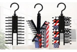 Upgraded Tie Belt Rack Holder, Rotate 360 Degree Swivel Space Saving Organizer 20 Tie and Belt Hanger with Non-Slip Clips