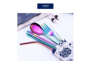 7 In 1 304 Stainless Steel Straw Utensil Spoon Fork  Chopstick Set Reusable Metal (Free Lucky Cat Po