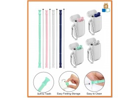 Silicone Reusable Drinking Straws, Collapsible Straws With Carrying Cases Cleaning Brushes, BPA Free