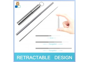 Collapsible Metal Straws Reusable Telescopic Portable Stainless Steel Straw Drinking Foldable with Case Cleaning