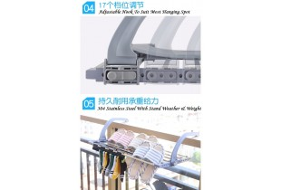 Stainless Steel Retractable Clothes Balcony Hanging Racks with Clips for Drying Socks