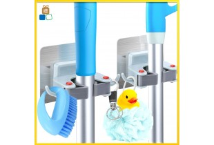 Mop Holder Bath Room Seamless Adhesive Wall Sticker Penjepit Pel Lantai Magic Hook