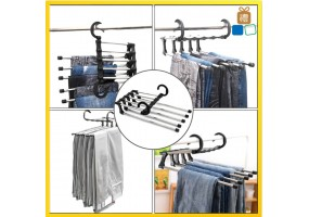 Multi-layer Folding Hanger Pants Rack Multi-functional Pants Clip Hanger Storage