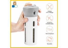 Portable Travel Bottles Set 4-In-1 Organized Leak Proof Travel Size Toiletries Refillable Travel Liquid/Lotion Container Travel Accessories