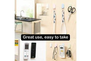 Remote Control Holder Wall Self Adhesive Hook - 2 Pair Multiuse TV Remote Control Air Conditioning Cordless Phone Sticky