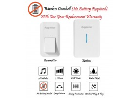 Waterproof Wireless DoorBell Self Powered Door bell (No Battery Required Door bell) Augreener 3 pins UK Plug