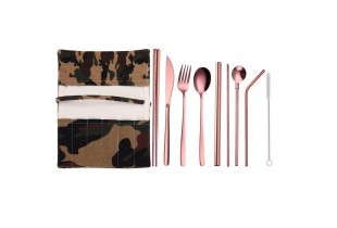 9 In 1 304 Stainless Steel Straw Utensil Spoon Fork  Chopstick Set Reusable Metal (Free Lucky Cat Pouch)