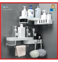 Wall Mounted Magic Hook Seemless Screw Bathroom Shampoo Shower Shelf Holder Storage Rack Organizer