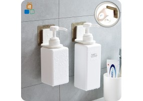 (Upgraded) Wall Mounted Shampoo Hook Hand Soap Bathroom Shower gel Bottle Self Adhesive Holder