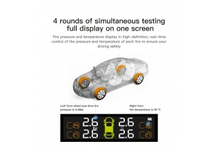 TPMS T2 With Color Screen Tire Pressure Monitor System Solar LED Display