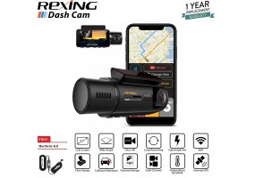 Rexing V3 Dual Camera Front and Inside Cabin Infrared Night Vision Full HD 1080p WiFi Car Taxi Dash Cam Built-in GPS