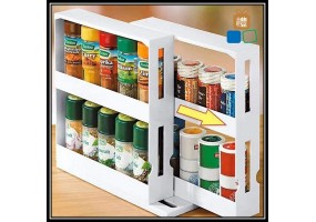 Double Layers Multifunction Rotating Jars Spice Rack Kitchen Storage Holder Rack Organize Pull Out Kitchen Storage