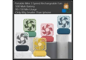 Portable Travel Pocket Mini Fan 3 Level Rechargeable Fan USB